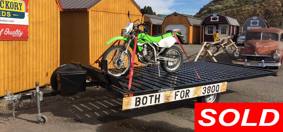 For Sale Used 2007 Kawasaki KLX 250 Motorcycle plus 2012 Powersports 14 Foot Trailer Stickshift Motors Cody, WY